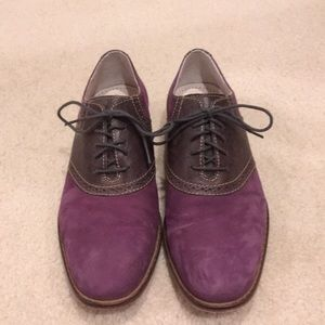 Men's purple suede with gray leather loafers 8